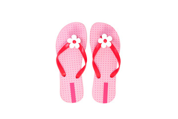 Beautiful pink beach shoes isolated on white background.
