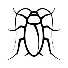 Cockroach pest or roach infestation line art vector icon for insect apps and websites