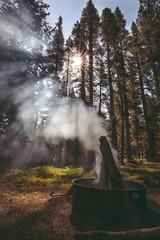 Fototapete - Piercing through crooked obelisk of smoke seeming defying gravity