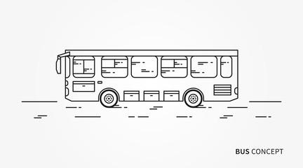 Bus vector illustration. Public transport line art concept. Urban vehicle (bus) graphic design.