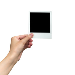 hand holding photo frame on isolated white with clipping path.