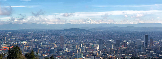 Portland Cityscape with Mt Hood Daytime View Panorama