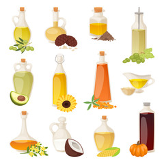 Different food oil in bottles isolated on white with cooking transparent liquid and natural, vegetable, virgin organic healthy container vector illustration.