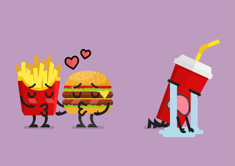 Fast food fall in love kissing with heartbroken soft drink character