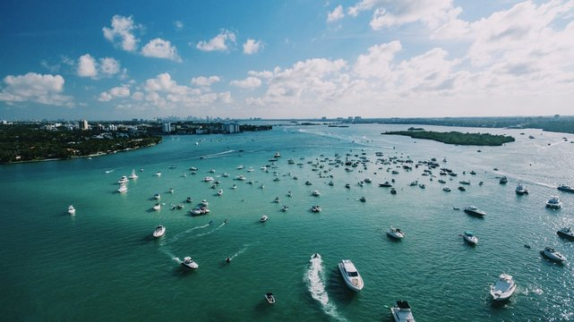 Aerial View of Miami Boats