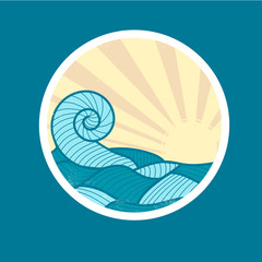 Badge with Sea Wave and Sun