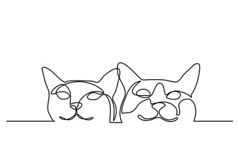 continuous line drawing of two happy cats