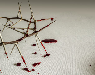 Crown of thorns with blood on canvas symbolic of Jesus Christ suffering on the cross