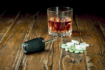 Car keys, pills and alcohol
