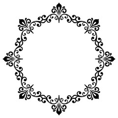 Oriental round frame with arabesques and floral elements. Floral fine border. Greeting card with place for text. Black and white pattern