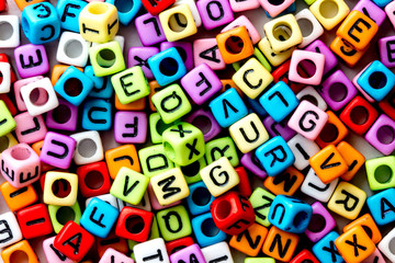 English alphabet cube as background