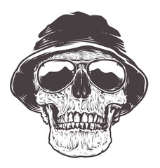 Skull in Hat and Sunglasses