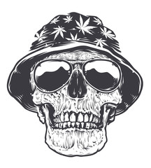 Rasta Skull in Hat and Sunglasses
