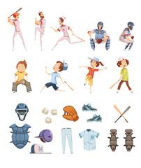 Baseball Cartoon Retro Style Icons Set