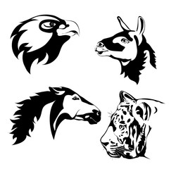 Black and white animals. Vector tattoo. Animals head. Lama, eagle, horse, tiger