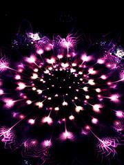 Abstract glowing pink flower on black background.. Digital fractal art. 3D rendering.