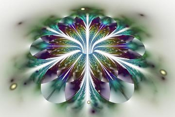 Abstract exotic flower on white background. Fantasy fractal design in dark violet, green and blue colors. Digital art. 3D rendering.