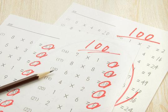 教育イメージ―百点のテスト