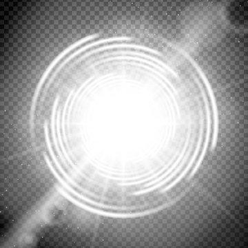 Vector light effect on transparent background. Glowing cosmic vortex or super nova with lens flares illustration.