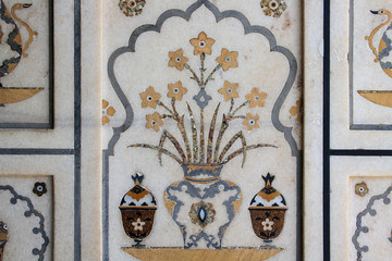 background of marble decoration of Taj Mahal.