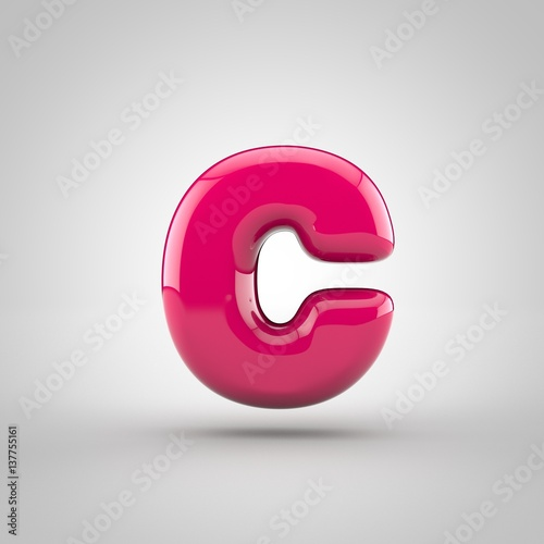 glossy pink paint letter c lowercase 3d render of bubble font with glint isolated on
