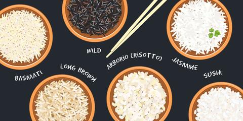 Different types of rice in ceramic bowls. Basmati, wild, jasmine, long brown, arborio, sushi. chopsticks. Kitchen bamboo mat