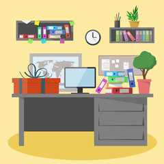 Office workspace illustration