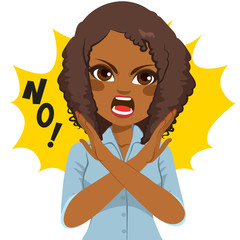 Young African American angry woman making crossed arms sign says no
