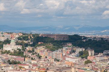 roofs of naples, south italy. aerial view