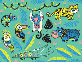 Seamless pattern with tropical animals