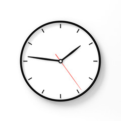 Simple classic black and white round wall clock on white 3d rendering