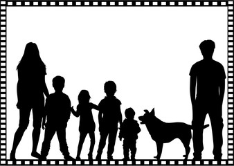 Black silhouettes of families in the frame.