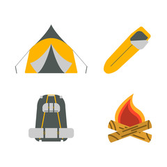 Tent, campfire, backpack, sleeping bag flat icons. Tourism equipment. Vector illustration.