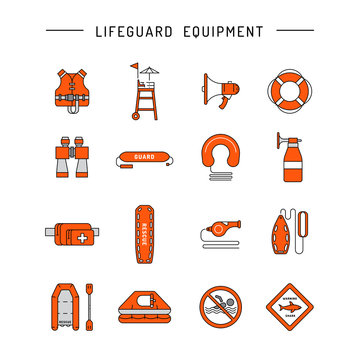 Lifeguard flat outline icon