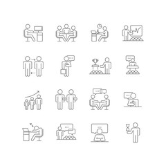Set of  Business People Vector Line Icons.Contains Icon as Meeting, Team, Business,Workplace,Management  and Human Resource With  Line Icon can be use for App and Web