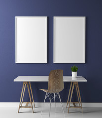 Two frame poster mock up and table 3d rendering