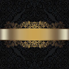 Black ornamental background with golden border.