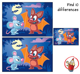 Cute little bat explains to little mouse how to fly. Find 10 differences. Educational game for children. Cartoon vector illustration.