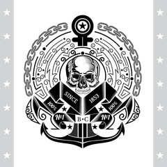 Skull with anchor in center of round frame from line pattern and chain. Marine label isolated on white