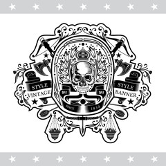 Skull front view in center of floral wreath between vintage weapon. Heraldic vintage label on white
