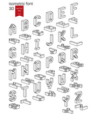 Isometric alphabet font. Stylized 3D icons for web and mobile devices.