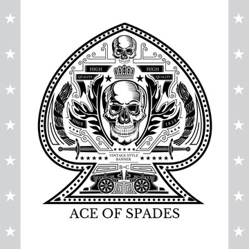 Ace of spades from skull front view between wreath and vintage weapon. Vintage heraldic label on white