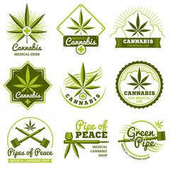 Hashish, rastaman, hemp, cannabis vector logos and labels set