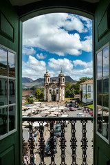 View of historic baroque church Igreja Sao Francisco de Assis from opposite gallery, Ouro Preto, UNESCO World heritage site, Minas Gerais, Brazil