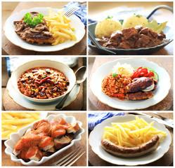 Collage verschiedene Fleischgerichte