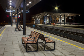 Aluminium Prints Train Station Night railway station,