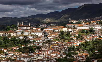 View of historic city Ouro Preto, UNESCO World Heritage Site, Minas Gerais, Brazil