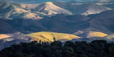View of cleared Mata Atlantica mountains, Serra da Bocaina, Brazil