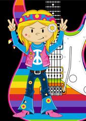 Cartoon Hippie Girl and Electric Guitar