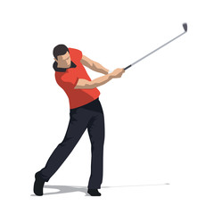 Golf swing front view, abstract vector illustration. Golfer in orange shirt and dark trousers
